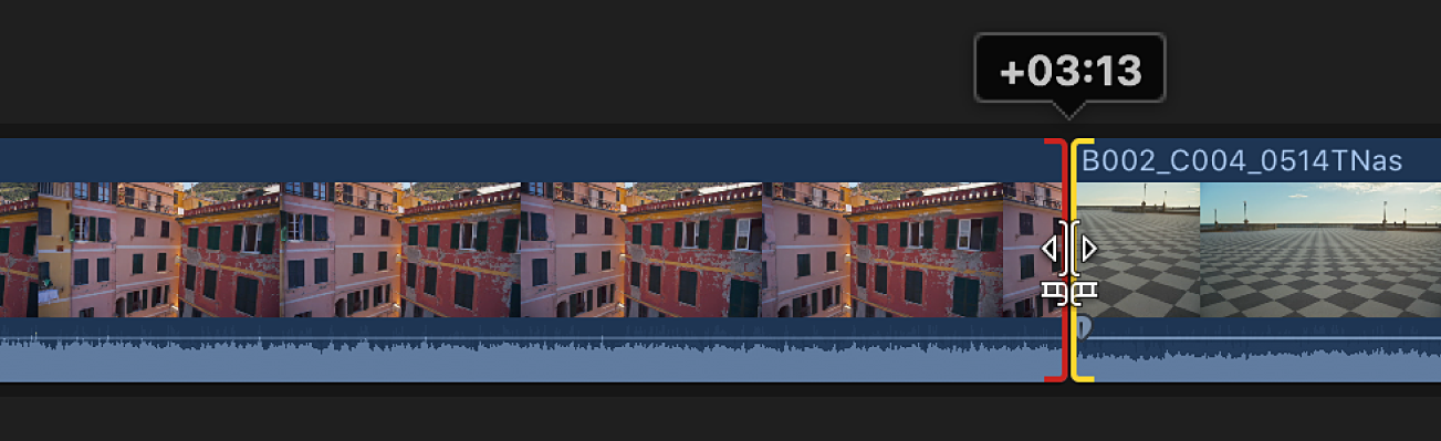 A red edit point indicating the end of available media