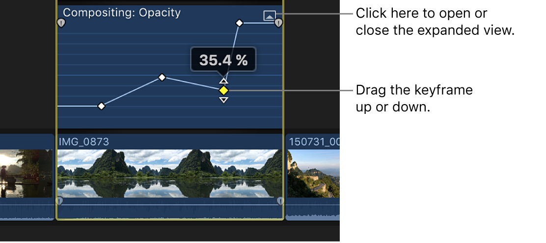 A keyframe being dragged in the Video Animation editor to change the parameter value