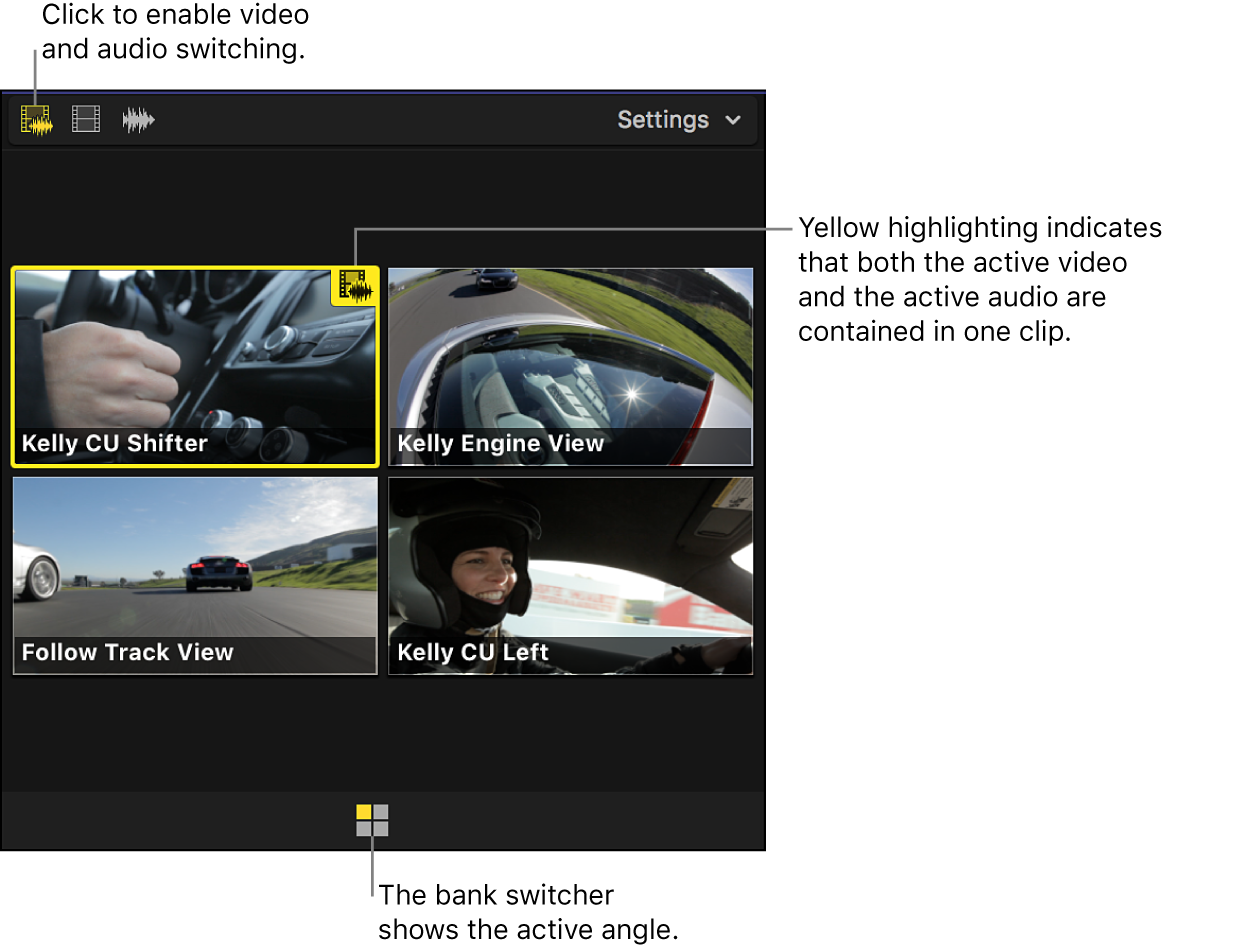 The angle viewer shown with video and audio switching enabled