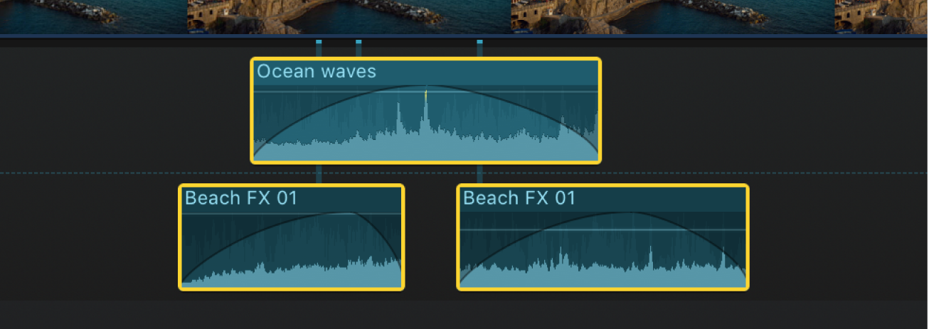 Audio clips with fades applied