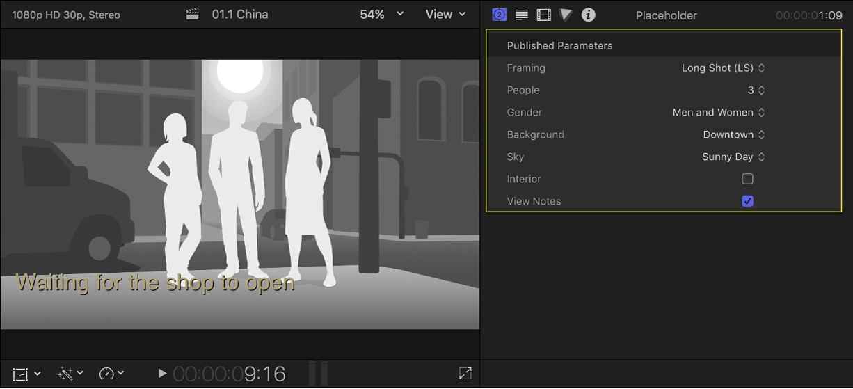 The viewer on the left showing a placeholder clip with three people, and the Generator inspector on the right showing the settings for the placeholder clip
