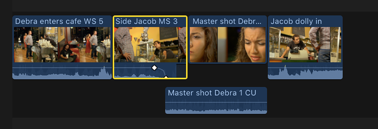 A split edit in the timeline shown after the expanded view is turned off