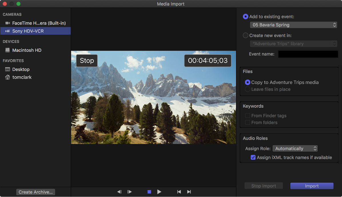 The Media Import window displaying the tape timecode position