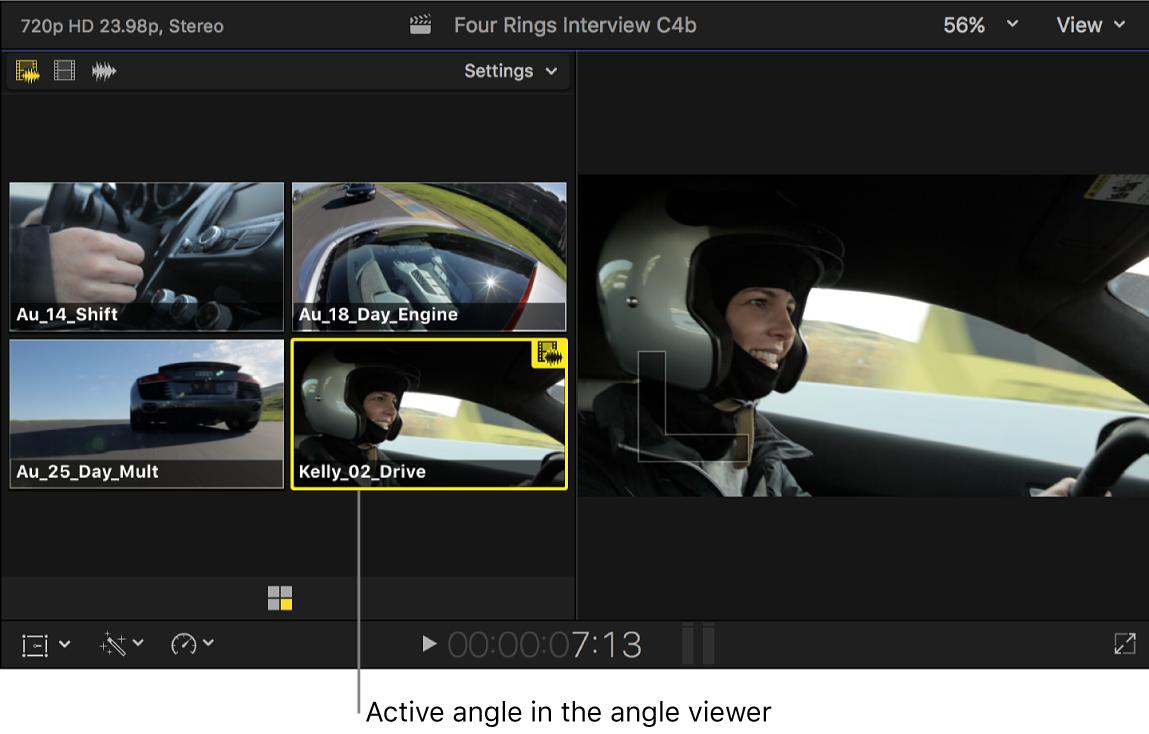 Visor de ángulos que muestra el ángulo activo de un clip Multicam resaltado
