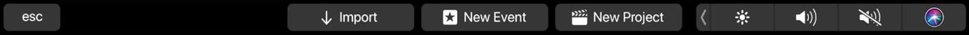 La Touch Bar con los controles para el explorador cuando no hay ningún clip seleccionado