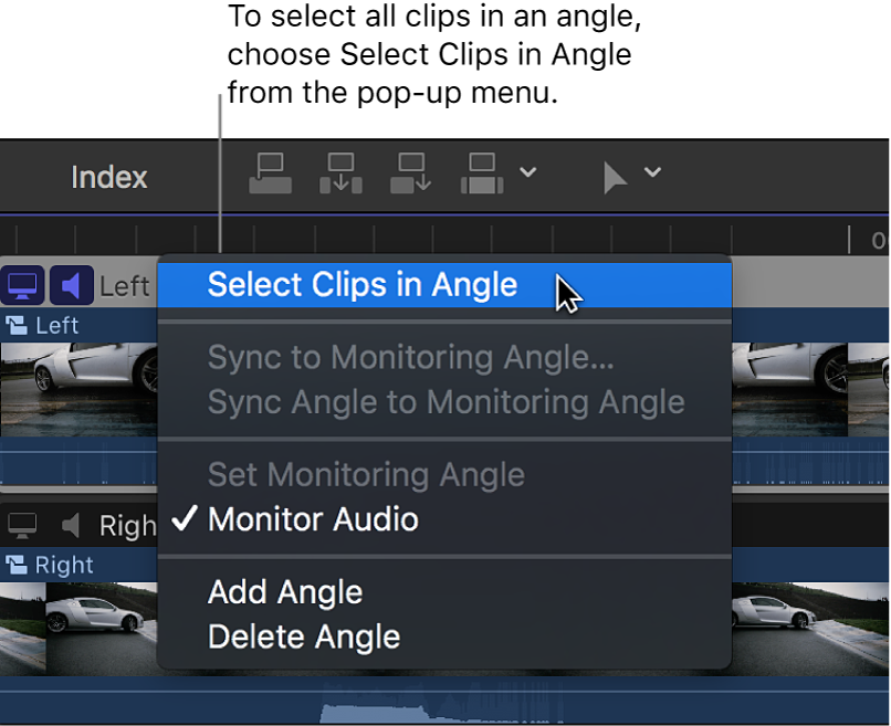 Opciones del menú desplegable junto al nombre del ángulo en el editor de ángulo