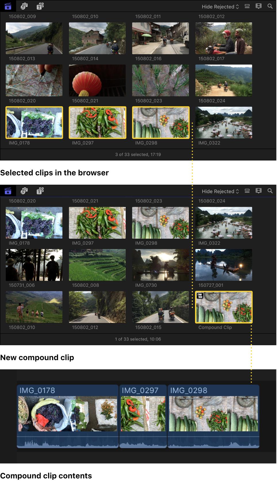 Un clip compuesto creado a partir de clips seleccionados en el explorador