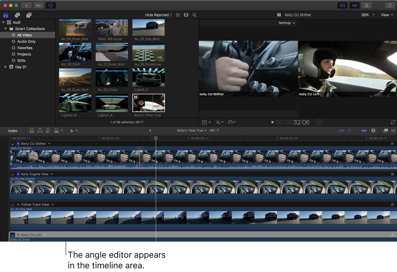 La ventana de FinalCutPro con el editor de ángulo mostrado en el área de la línea de tiempo