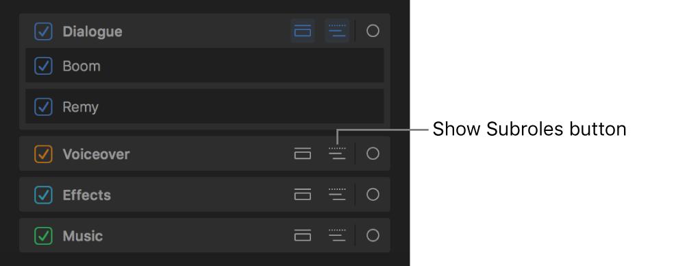 """El botón """"Mostrar subfunciones"""" de una función en el panel Funciones del índice de la línea de tiempo"""
