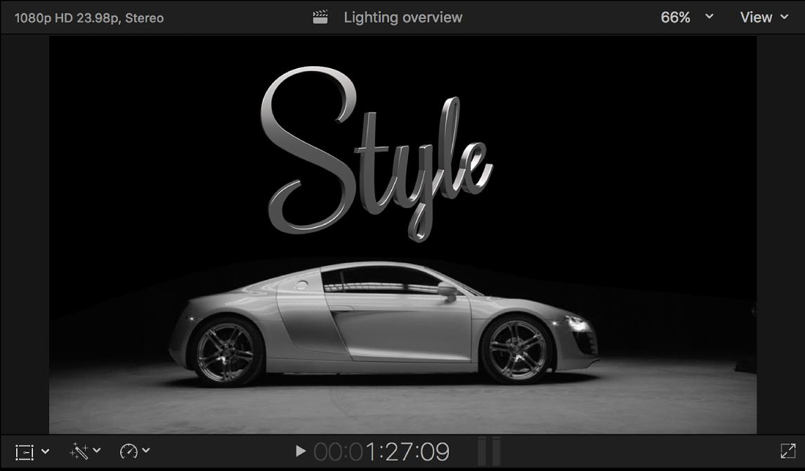 El visor con un título 3D con efectos de iluminación aplicados