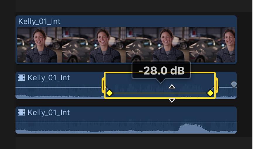 Intervalo seleccionado en componente de audio en la línea de tiempo antes de ajustar el volumen