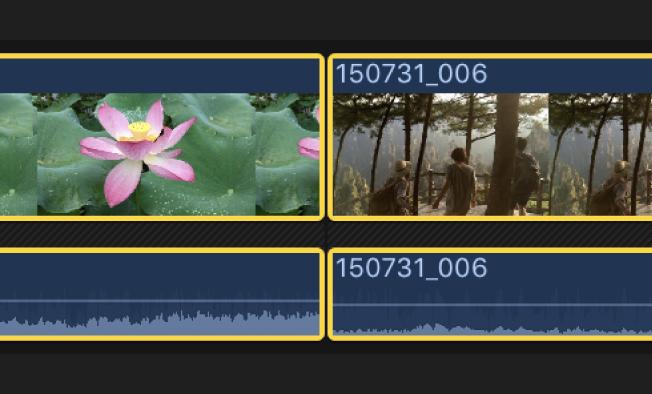 Dos clips adyacentes seleccionados en la línea de tiempo