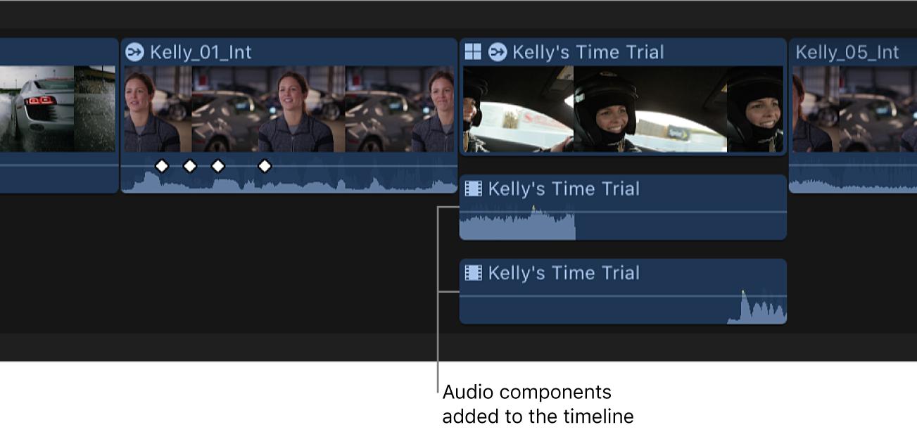 Componentes de audio añadidos expandidos en la línea de tiempo