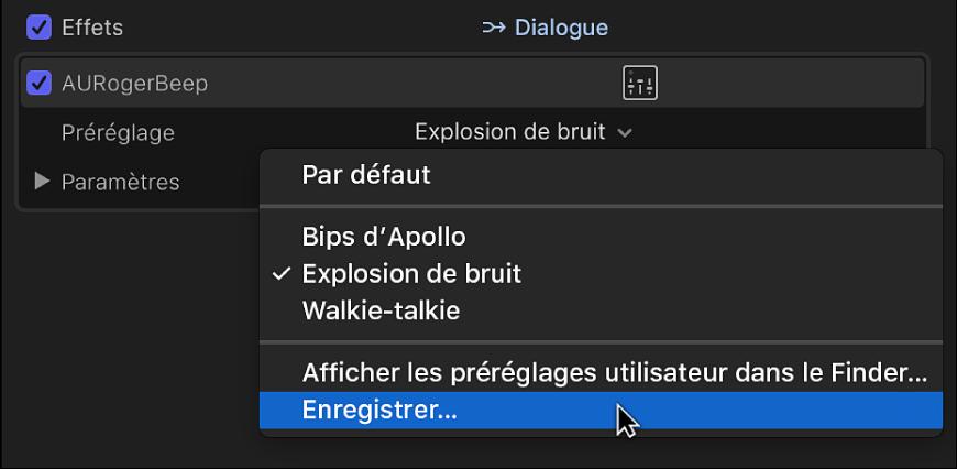 Section Effets de l'inspecteur audio affichant l'option Enregistrer le préréglage dans le menu local Préréglage