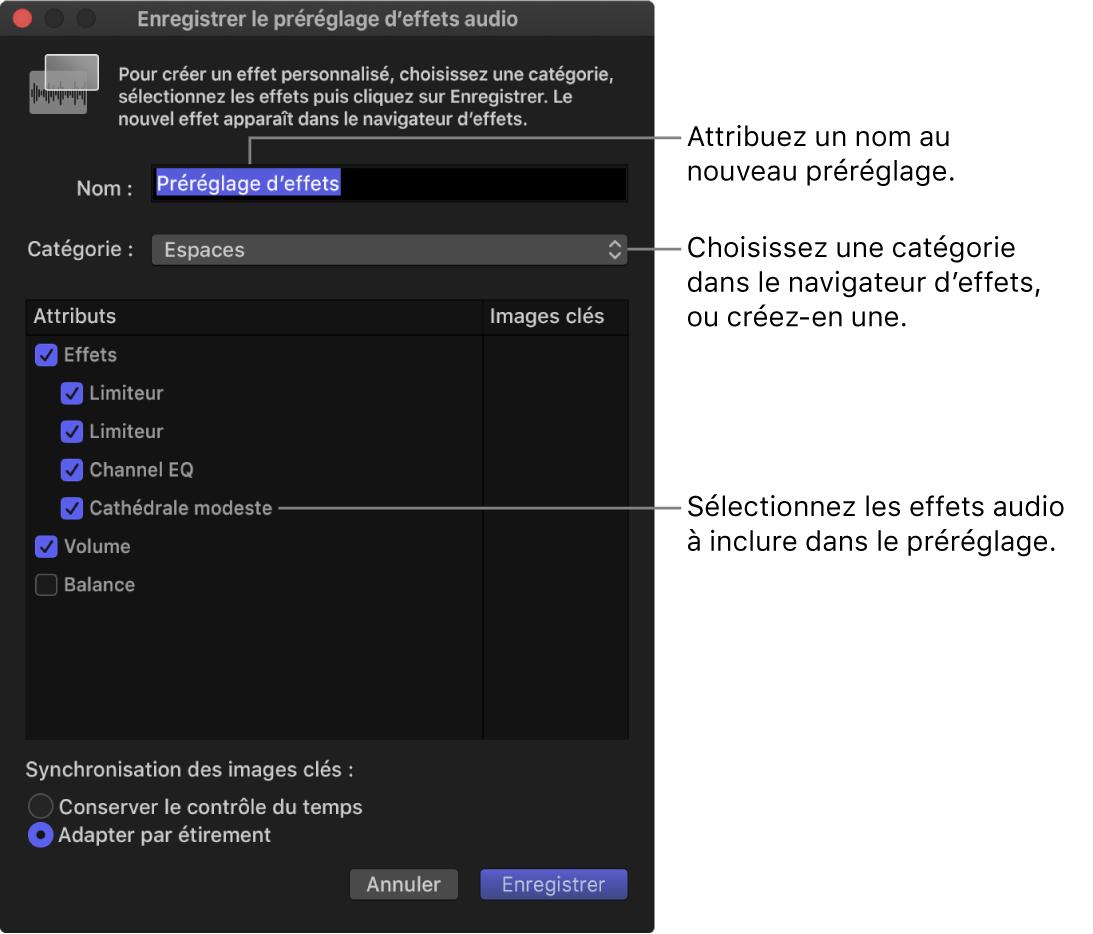 Fenêtre «Enregistrer le préréglage d'effets audio»