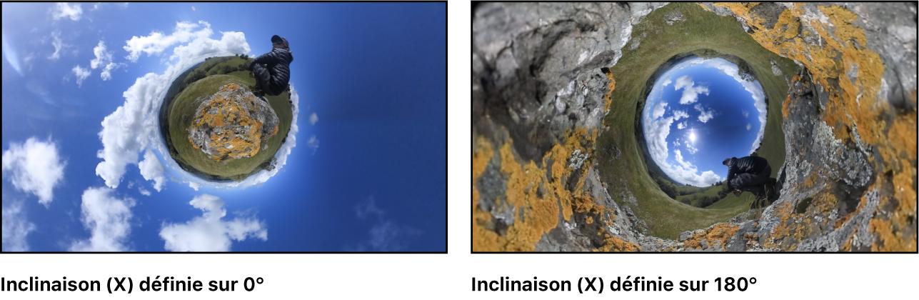 Image de mini-planète à gauche avec le paramètre Inclinaison défini sur0° et la même image à droite avec le paramètre défini sur180°, créant ainsi une mini-planète inversée