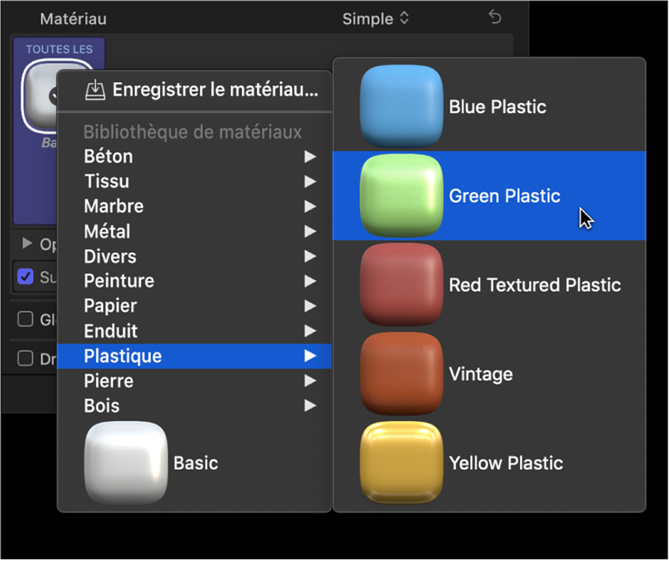 Section Texte3D de l'inspecteur de texte affichant le menu local des préréglages de matériau et le sous-menu Plastique, avec l'option Plastique vert sélectionnée