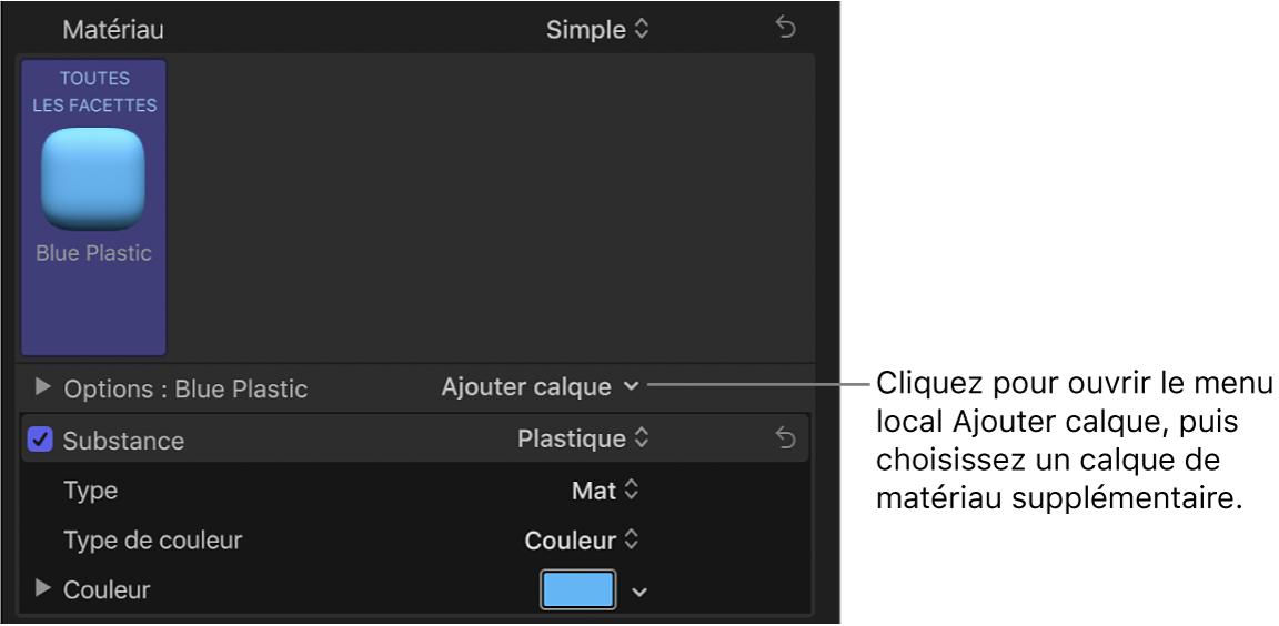 Menu local Ajouter calque dans la section Matériau de l'inspecteur de texte, avec l'option Plastique bleu sélectionnée