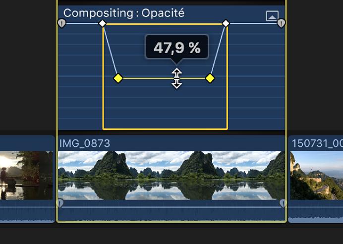 Commande horizontale d'un effet déplacée par glissement dans l'éditeur d'animation vidéo pour ajuster l'effet
