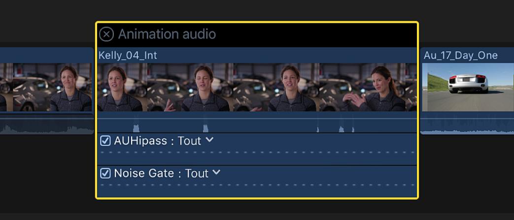 Éditeur d'animation audio affichant les effets appliqués à un plan dans la timeline