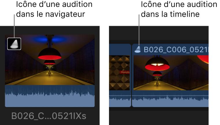 Une icône d'audition sur un plan dans le navigateur et dans la timeline