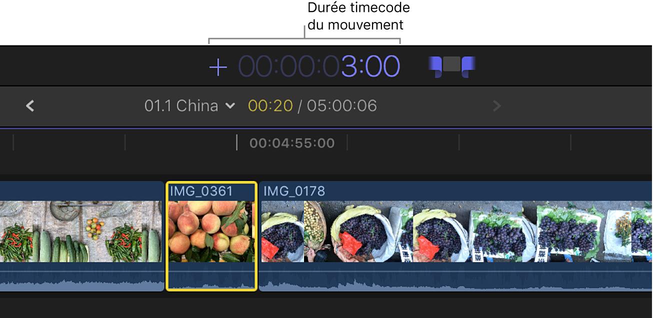 Zone d'affichage du timecode dans laquelle une durée de timecode a été saisie