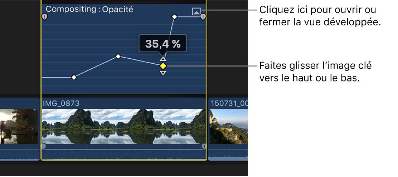 Glissement d'une image clé dans l'éditeur d'animation vidéo pour modifier la valeur du paramètre