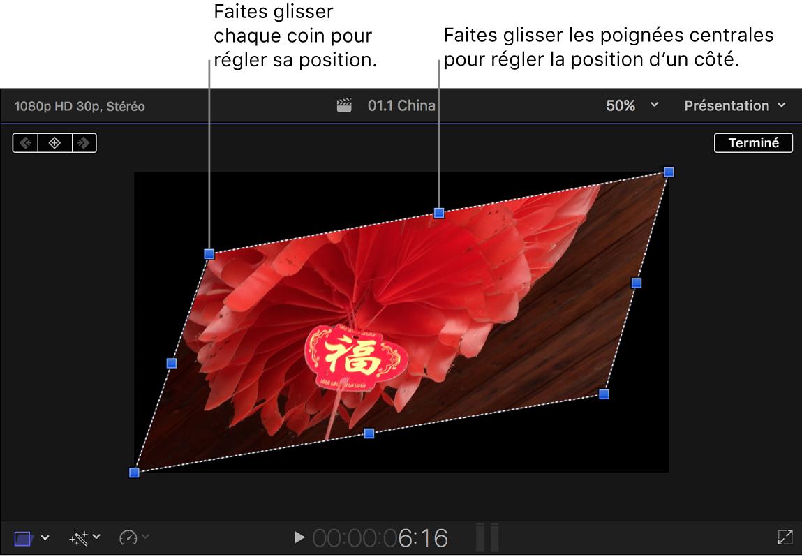Visualiseur affichant les commandes à l'écran de l'effet Distorsion
