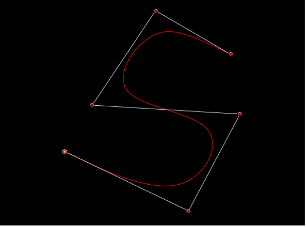 Visualiseur affichant une courbe en S créée avec des poignées B-Spline