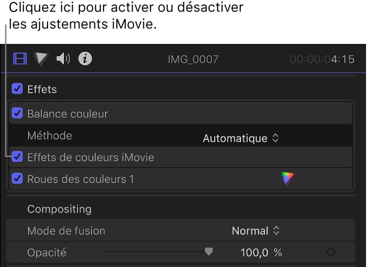 Section Effets de l'inspecteur vidéo avec la case Effets de couleurs iMovie