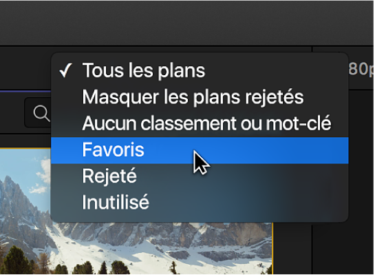 Options du menu local Filtre