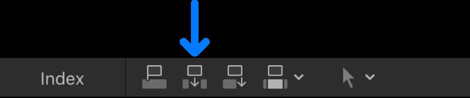 タイムラインの上にある「挿入」ボタン