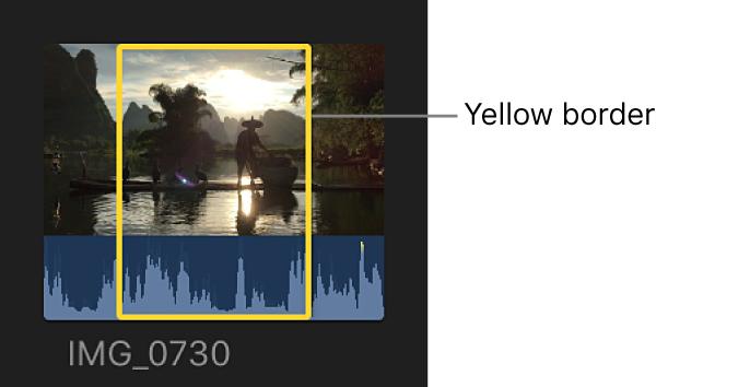 黄色の枠線のあるクリップ選択範囲