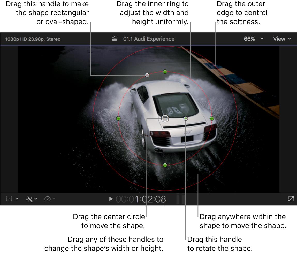 检视器中默认的形状遮罩和屏幕控制