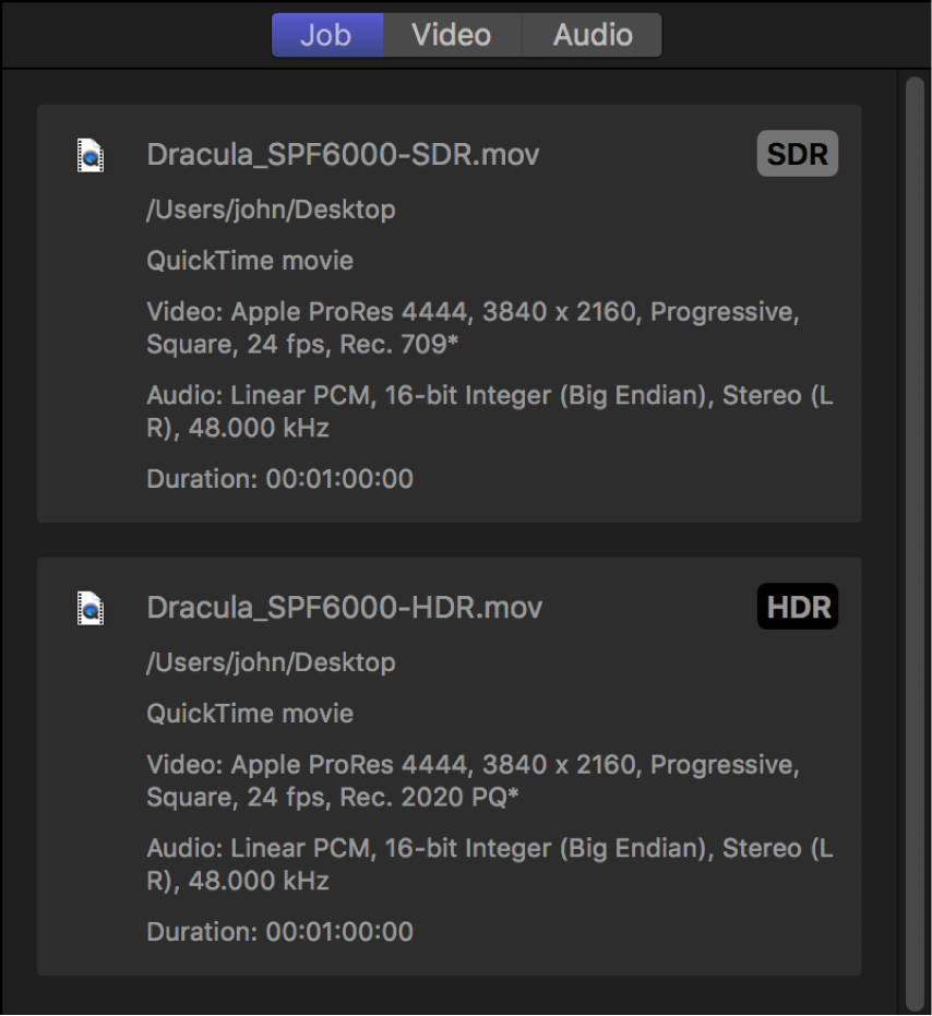 Job inspector showing separate summaries for the SDR source file and the HDR source file.