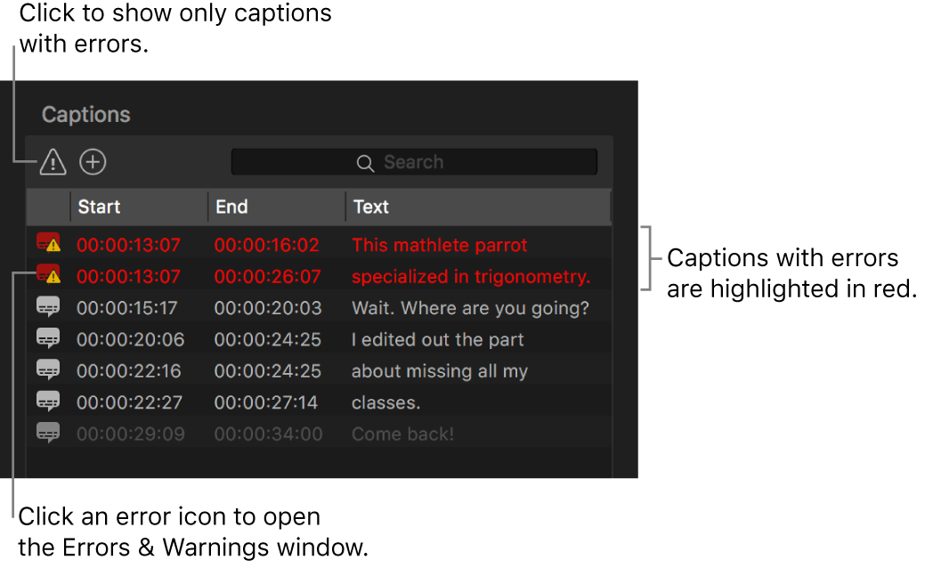 Captions list showing captions with errors highlighted in red