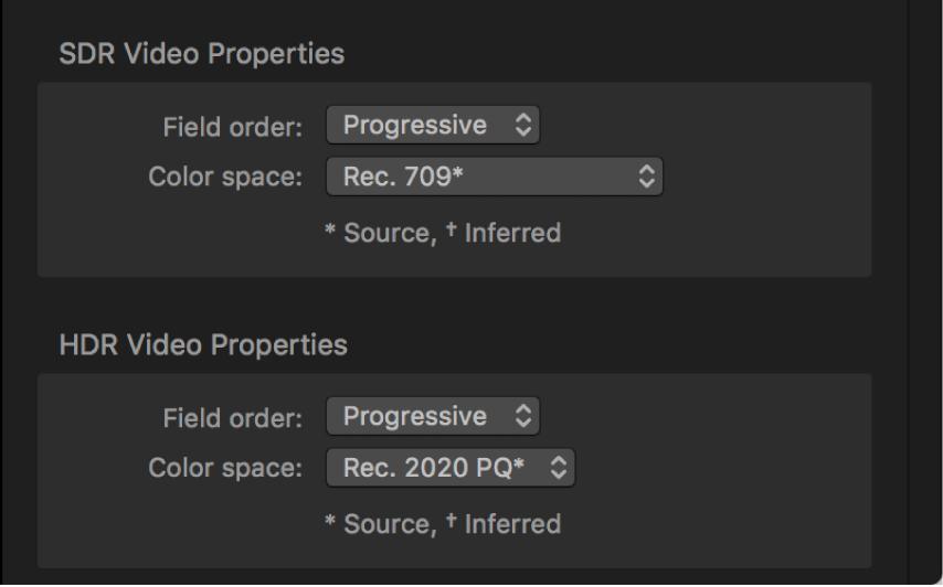 """Inspector de tareas con menús """"Espacio de color"""" específicos para el vídeo de origen SDR y el vídeo de origen HDR."""