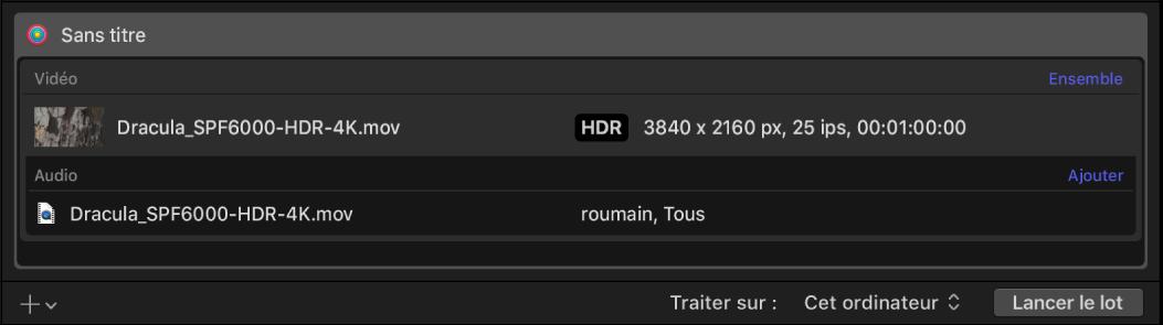 Zone du lot affichant une rangée pour la sortie vidéo HDR.