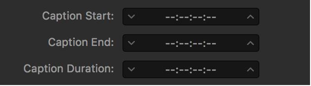 タイムコードの代わりにダッシュ記号が表示されたキャプションのタイミングフィールド
