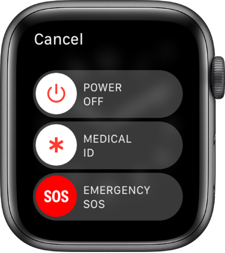 The Apple Watch screen showing three sliders: Power Off, Medical ID, and Emergency SOS. Drag the Power Off slider to turn off Apple Watch.