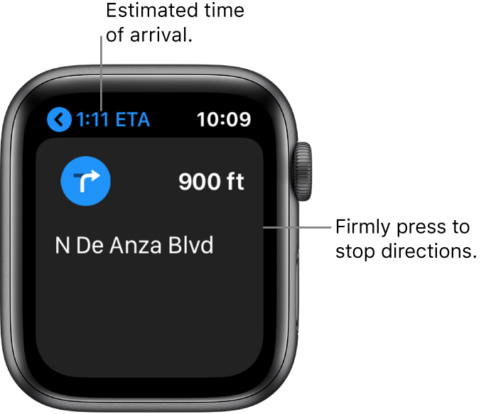 """The Maps app showing the estimated time of arrival at the top left, the name of the street where you next turn, and the distance before you make that turn. A callout points to the screen and reads, """"Firmly press to stop directions."""""""