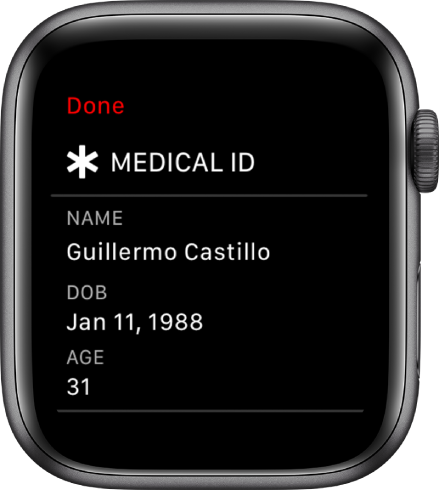 The Medical ID screen showing the user's name, date of birth, and age.