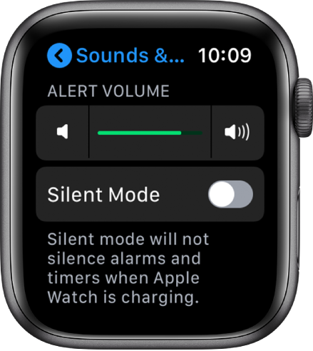 Sounds & Haptics settings on Apple Watch, with the Alert Volume slider at the top, and the silent mode button below it.