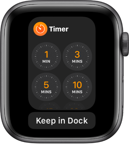 The Timer app screen in the Dock, with the Keep in Dock button below it.