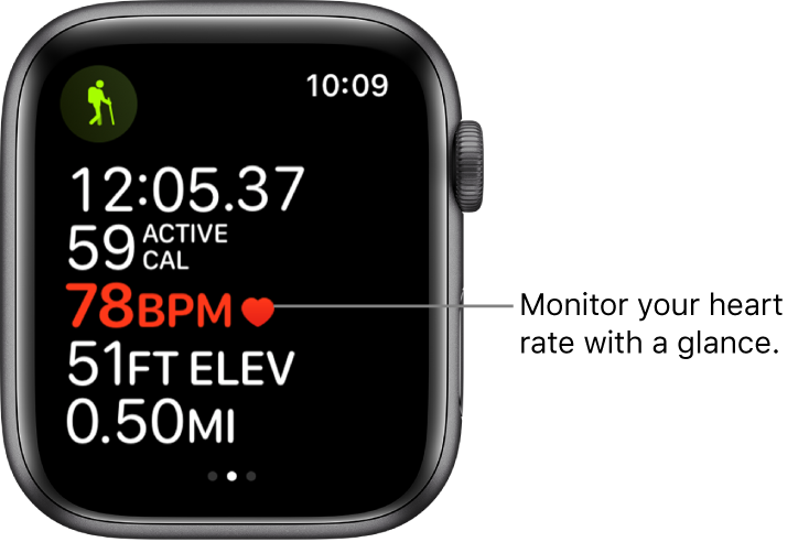 """A screen showing workout stats, including elapsed time and heart rate. The callout reads, """"Monitor your heart rate with a glance."""""""