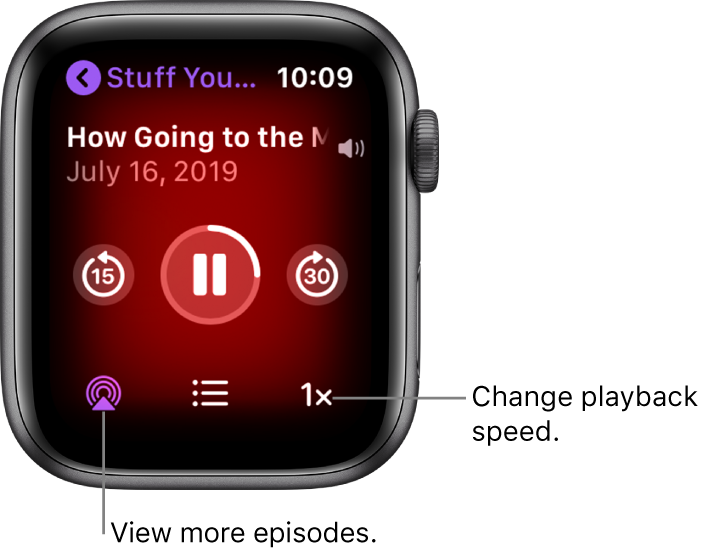 A Podcasts Now Playing screen showing the show title, episode title, date, skip-back-15-seconds button, pause button, skip-ahead-30-seconds button, episodes button, volume indicator, and playback speed button.