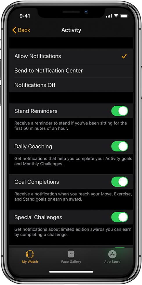 The Activity screen in the Apple Watch app, where you can customize the notifications you want to get.