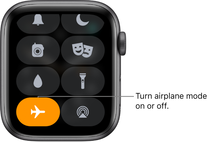 Control Center with airplane mode button highlighted to show airplane mode is on.