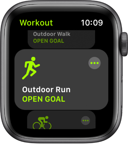 The Workout screen with Outdoor Run highlighted.