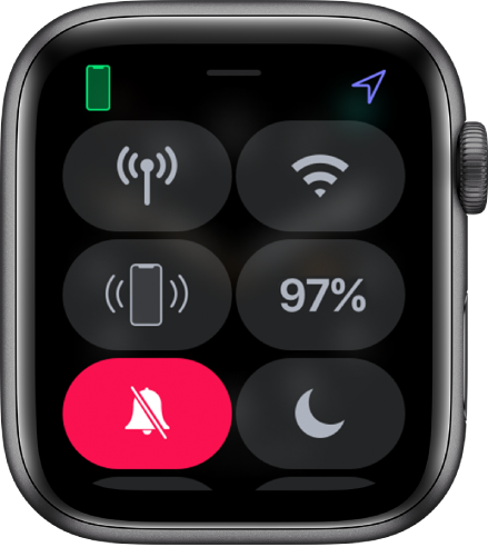 Control Center with silent mode button selected.
